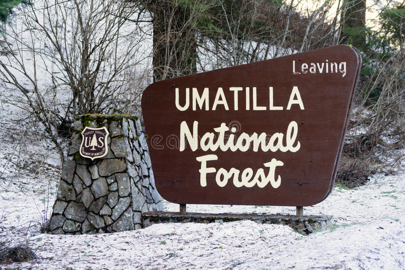 Umatilla National Forest Entrance Sign Oregon Wilderness. Department of Agriculture sign marking entrance to federally protected lands stock photo