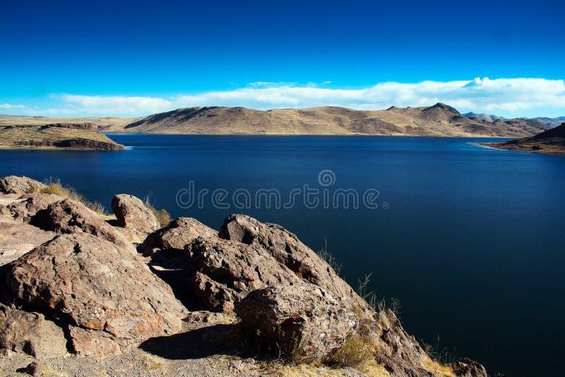 Umayo jezioro blisko titicaca przy puno Peru, fotografia royalty free