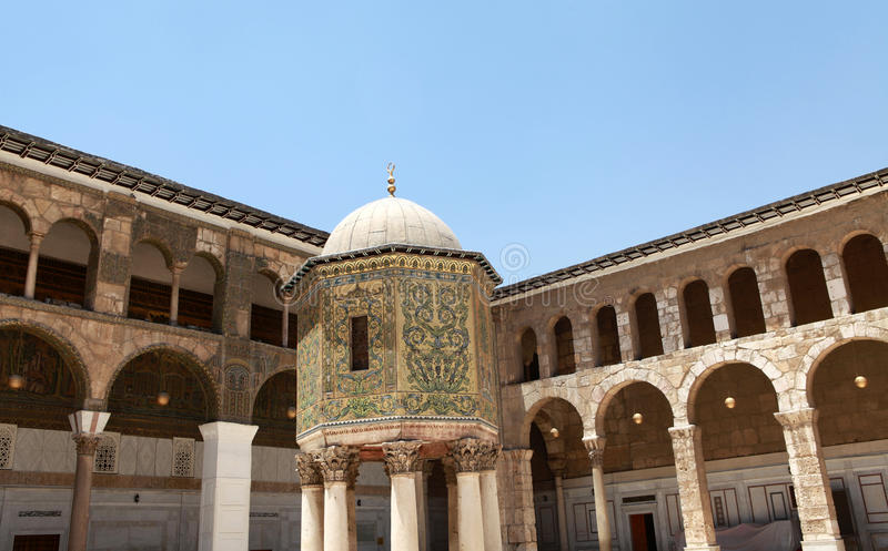 Umayyad moské i Damascus, Syrien. fotografering för bildbyråer