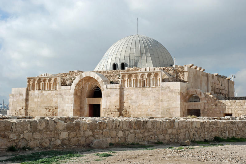 The Umayyad Mosque in the Citadel - Amman. The Umayyad Mosque in the Citadel in Amman, Jordan stock photo