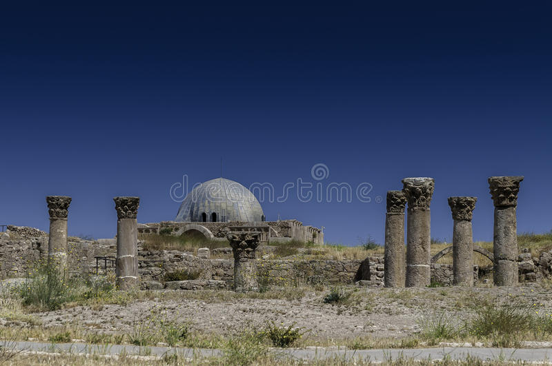 The Umayyad Palace in Amman, Jordan. View of Umayyad Palace in Citadel, Amman Jordan stock photos