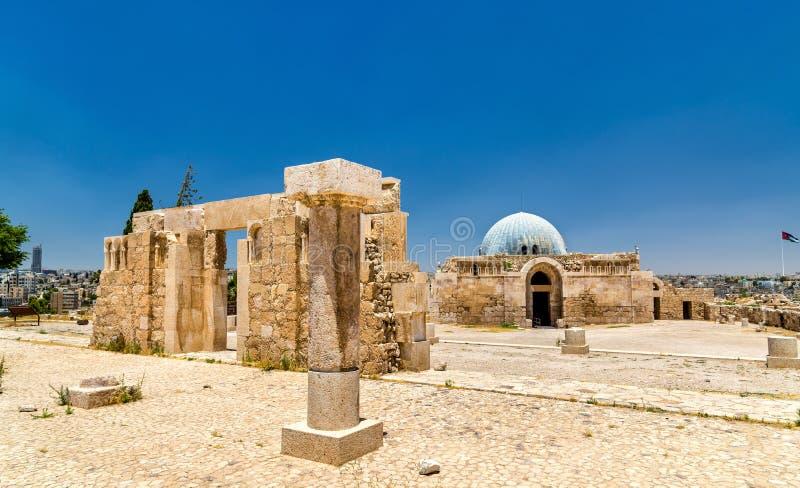 Umayyad slott på den Amman citadellen royaltyfria foton