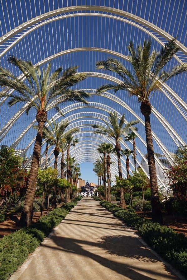Umbracle in Stad van Kunsten en Wetenschappen in Valencia, Spanje stock afbeelding