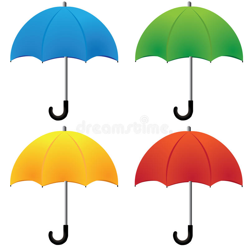 Umbrella. Nice blue red green and yellow umbrella isolated on white background