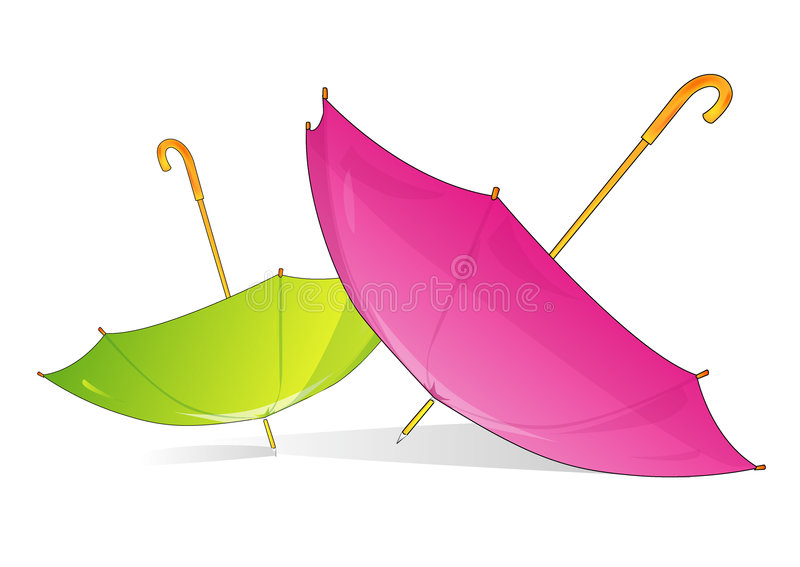 A pink and green umbrella stock illustration