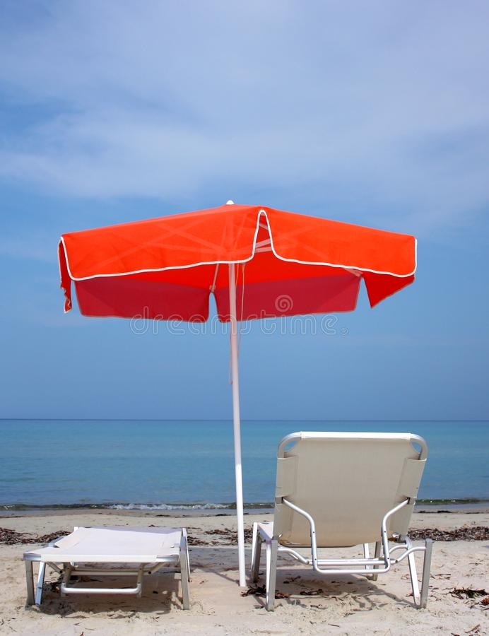 Umbrella on the beach stock image