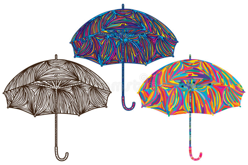 Line Drawing Umbrella : Umbrella colorful color stock vector image