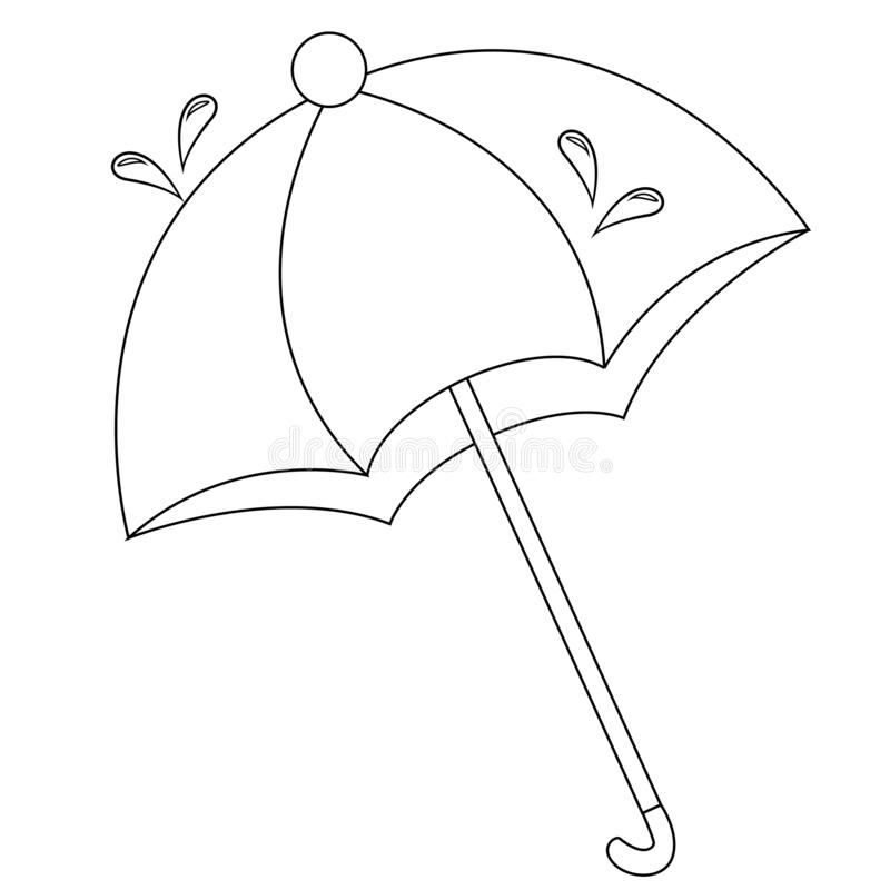 Umbrella Coloring Page For Kids Stock Vector - Illustration ...