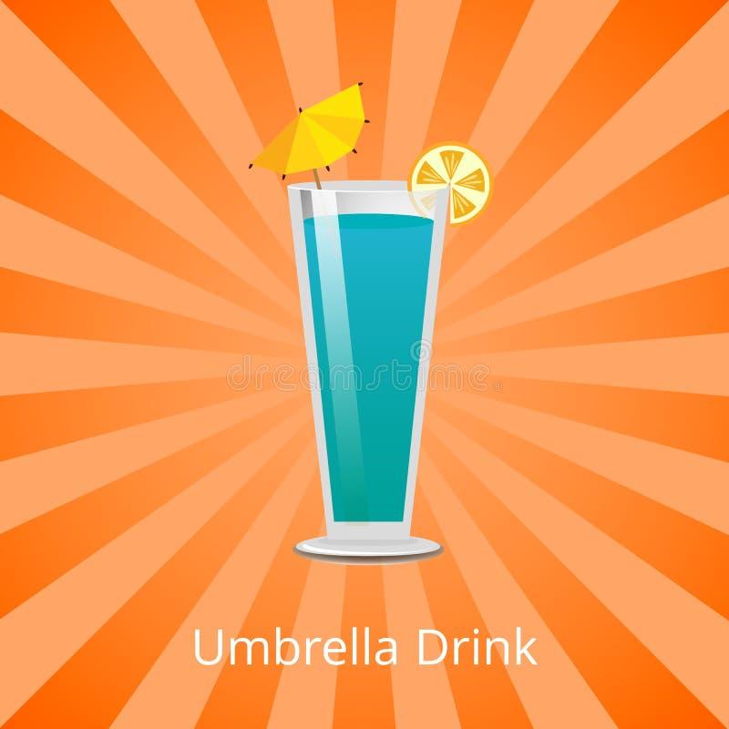 Umbrella Drink Blue Lagoon Decorate by Lemon Slice. Umbrella drink blue lagoon decorated by umbrella, with slice of lemon, summer refreshing cocktail vector stock illustration