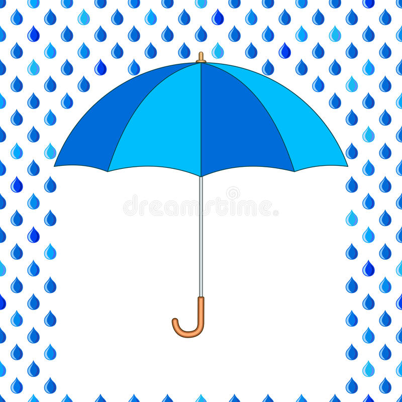 Umbrella and drops vector illustration
