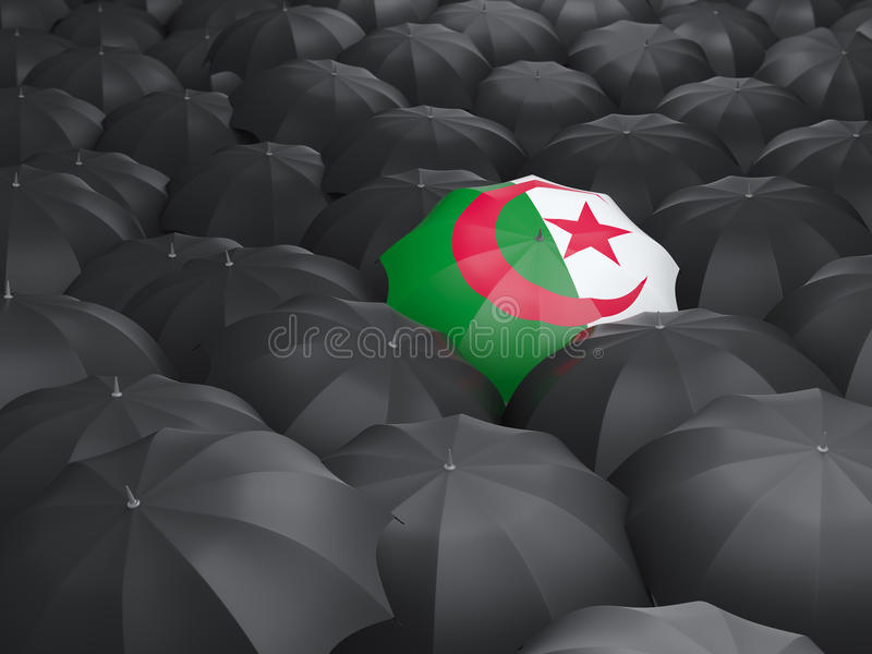 Umbrella with flag of algeria royalty free illustration