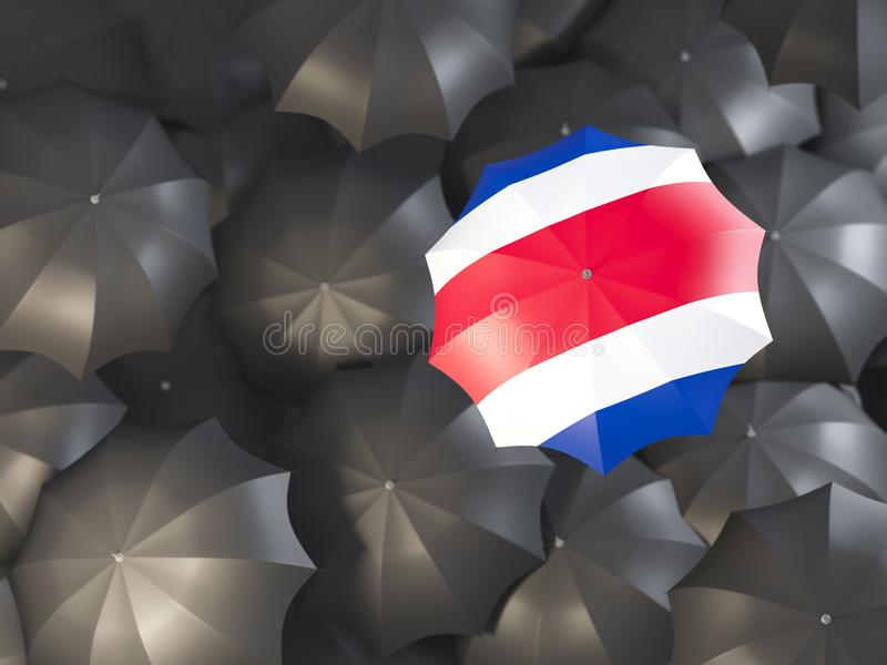 Umbrella with flag of costa rica. On top of black umbrellas. 3D illustration stock illustration