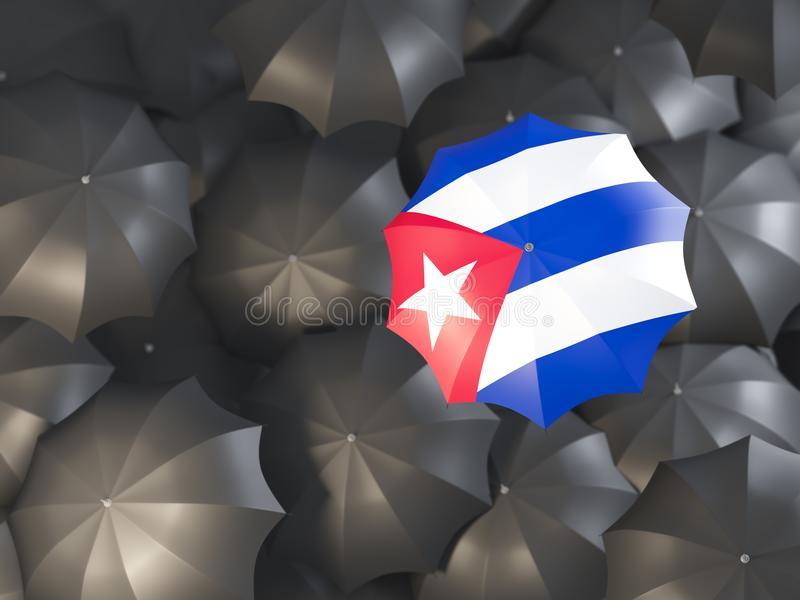 Umbrella with flag of cuba stock illustration