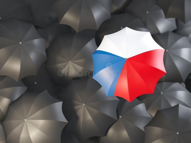 Umbrella with flag of czech republic royalty free illustration