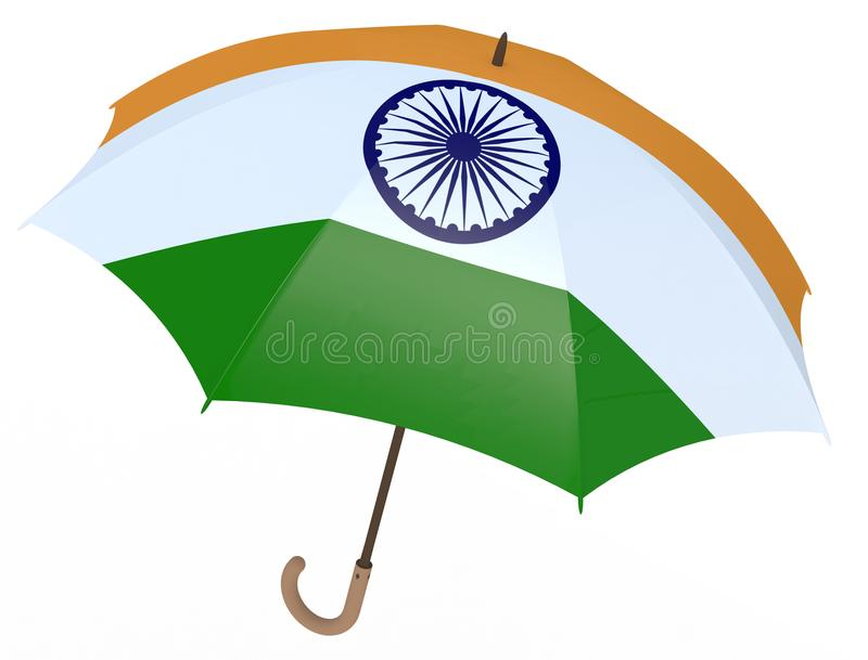 Umbrella with flag of India on white stock illustration