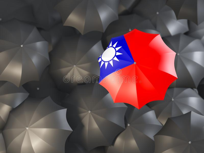 Umbrella with flag of taiwan stock illustration