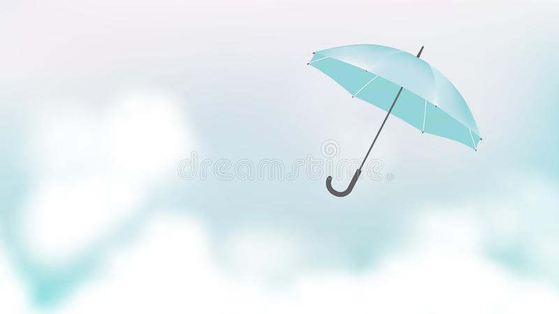 Umbrella flying over blue sky vector illustration