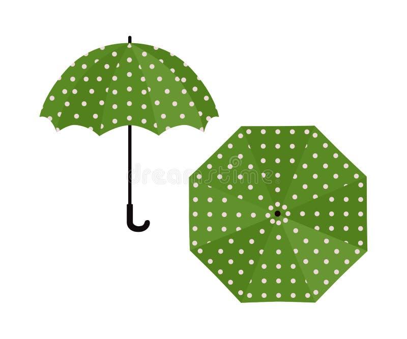 Umbrella green with polka dot on white background. Vector illustration royalty free illustration