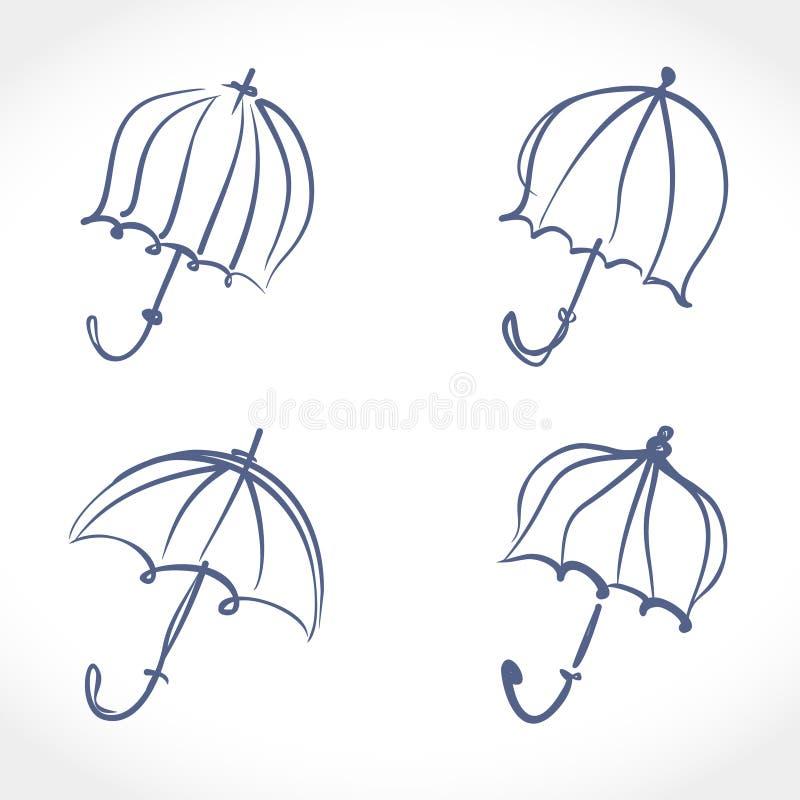 Umbrella. Hand drawn four umbrellas line art icons set. Umbrella. Hand drawn four umbrellas, vector line art icons set vector illustration