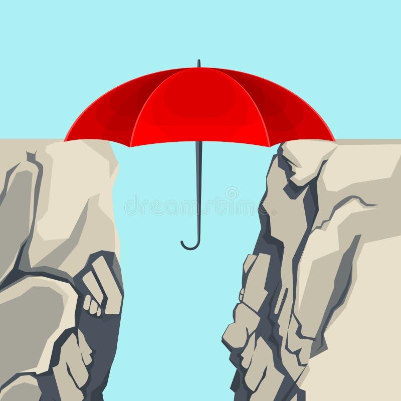 Umbrella hanging on edges of abyss illustration. Unfolded umbrella hanging on edges of deep abyss forming bridge vector illustration on light blue background stock illustration