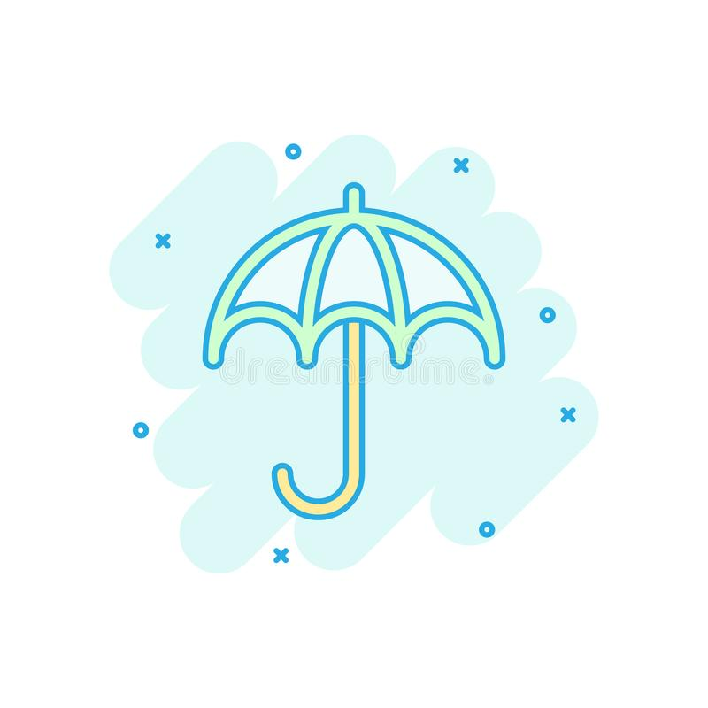 Free Umbrella Icon In Comic Style. Parasol Vector Cartoon Illustration On White Isolated Background. Umbel Business Concept Splash Stock Image - 155561181