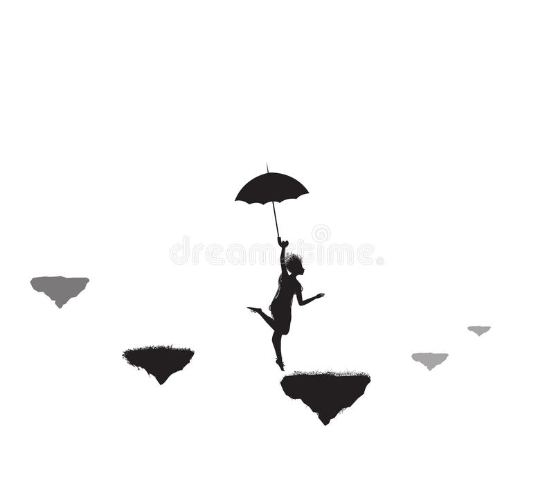 Umbrella jumper vector illustration