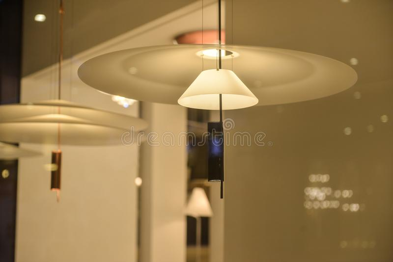 Umbrella led chandelier. Led chandelier used in modern construction, subway station, airport, railway station, bus station ,shopping mall,office,shopping mall royalty free stock photos