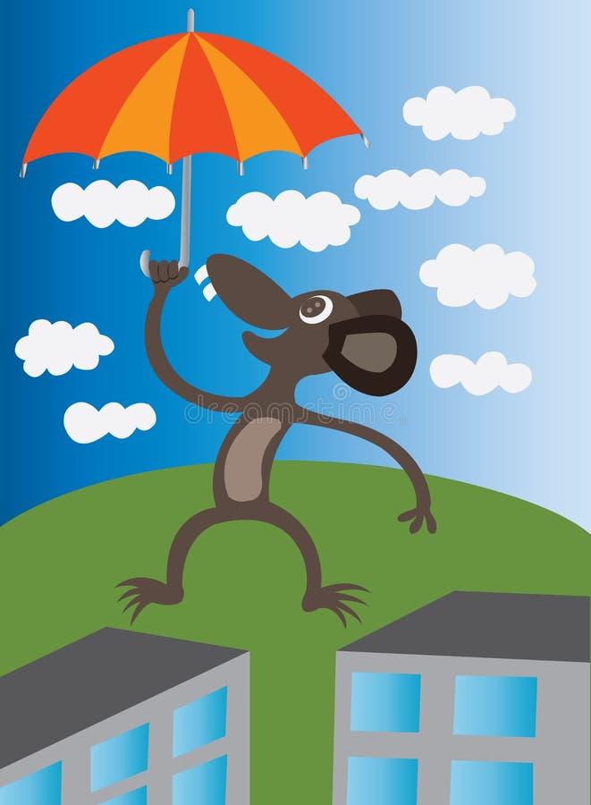 Umbrella lift. A mouse enjoying a lift royalty free illustration