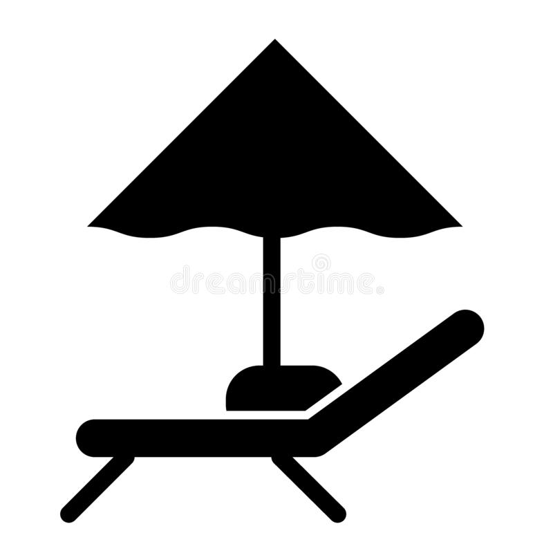 Umbrella and lounger solid icon. Beach chair sign vector illustration isolated on white. Sunbed and parasol glyph style royalty free illustration