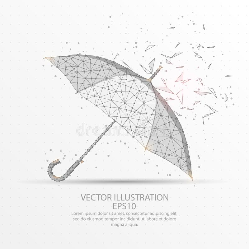 Free Umbrella Low Poly Wire Frame On White Background. Royalty Free Stock Photo - 122491535