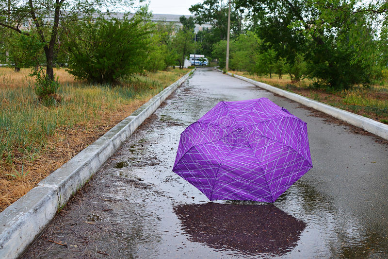 Umbrella is lying in the rain in the alley. Colorful umbrella in rain on the pathway stock photo