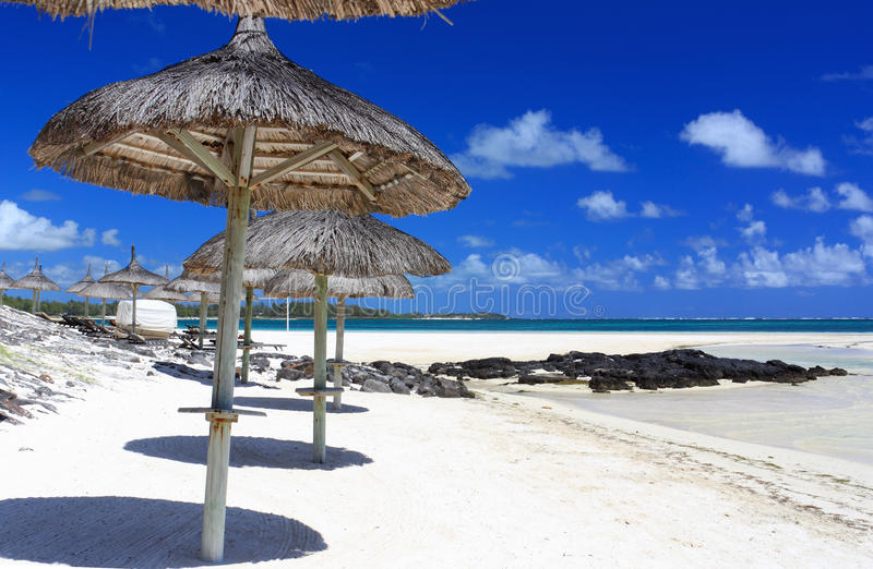 Umbrella in mauritius island royalty free stock photography
