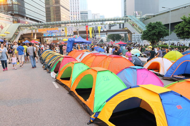 Umbrella Movement in Hong Kong. The Occupy Central movement start on 28 Sep 2014, announced the beginning of Occupy Central at the Central Government Complex at stock photography
