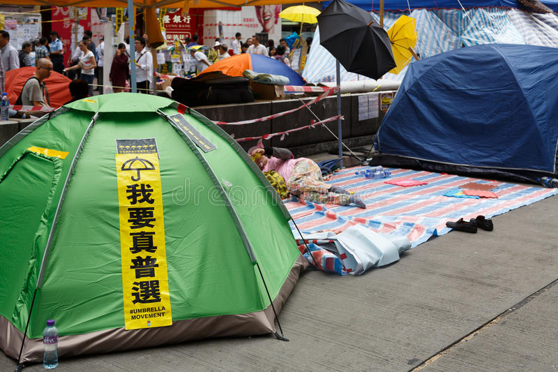 Umbrella Movement in Hong Kong. The 2014 Hong Kong protests, also referred to as the Umbrella Revolution, began in September 2014 when anti-government advocates royalty free stock photo