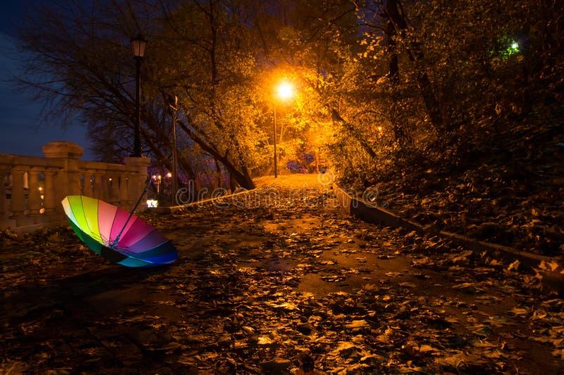 Umbrella in the night autumn park. Umbrella on the road in the night autumn park stock photos