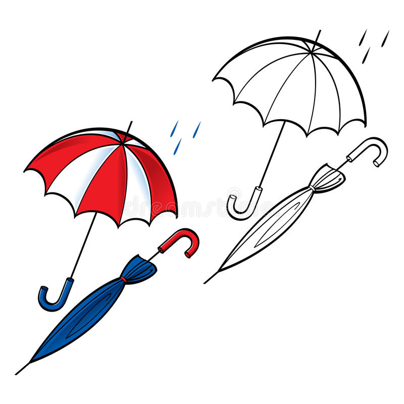 Umbrella opened closed royalty free illustration
