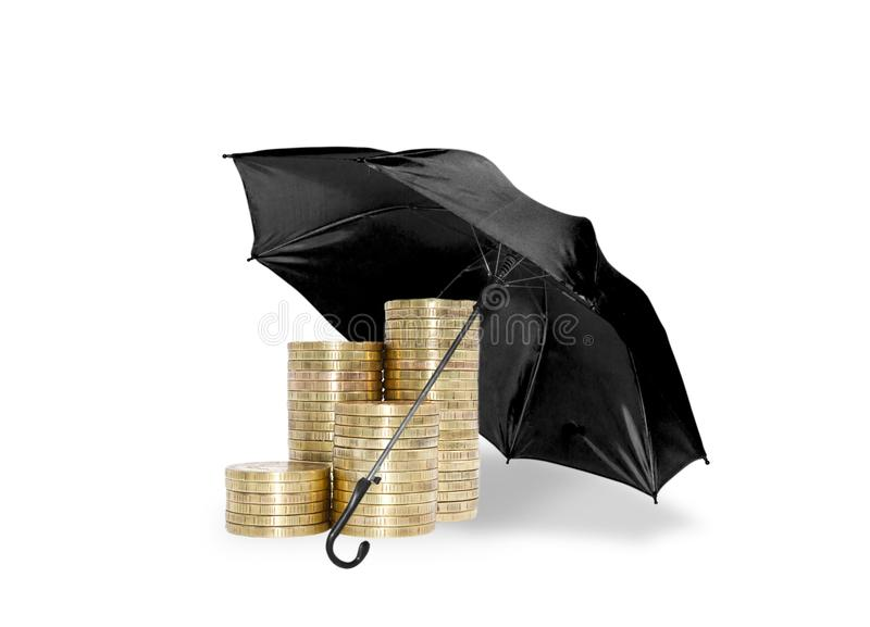 Umbrella protection coins savings royalty free stock photography