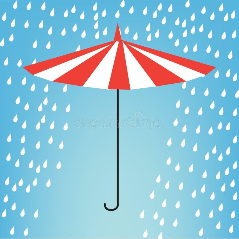 Umbrella in rain stock illustration
