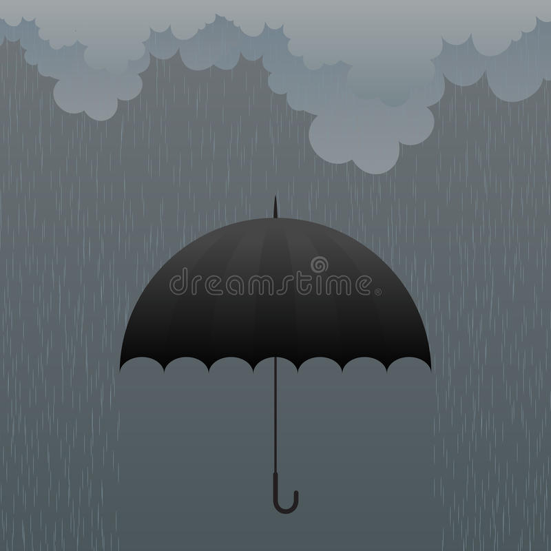 Umbrella in the Rain stock illustration
