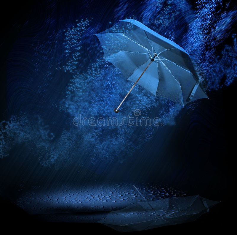 Umbrella in rain stock photography