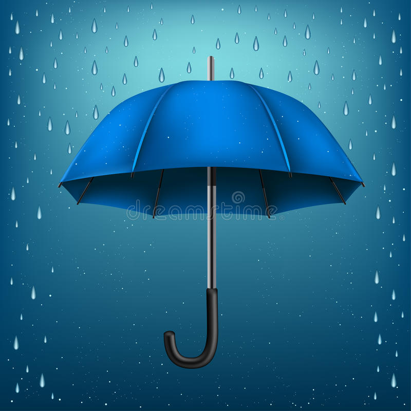 Umbrella rain blue background vector illustration