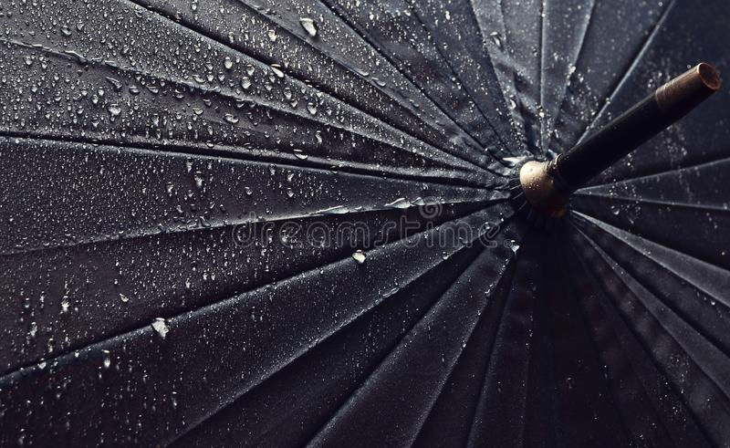 Umbrella in the rain drops.  royalty free stock images