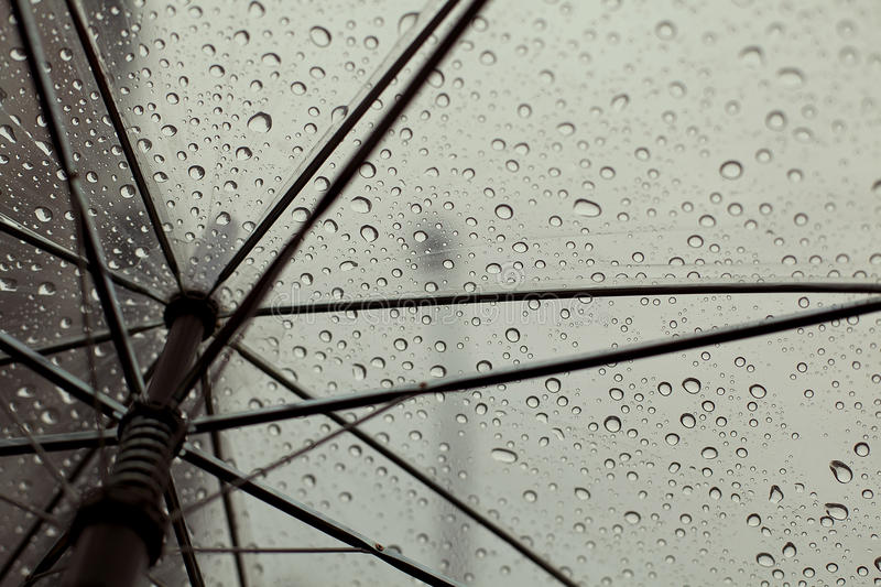 UMBRELLA and RAIN DROPS. An image of an umbrella with rain drops on royalty free stock photos