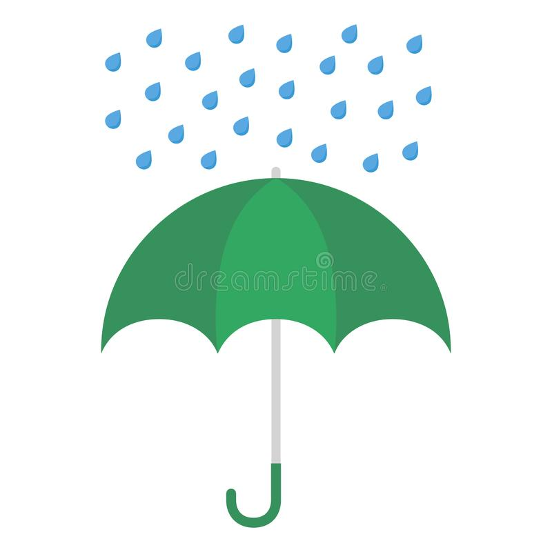 Umbrella and rain drops. Isolated on white background. Vector illustration stock illustration