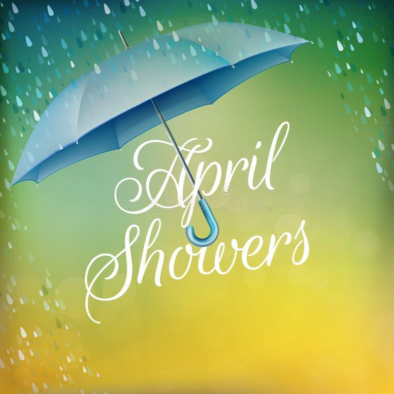 Umbrella in the rain. EPS 10 stock illustration