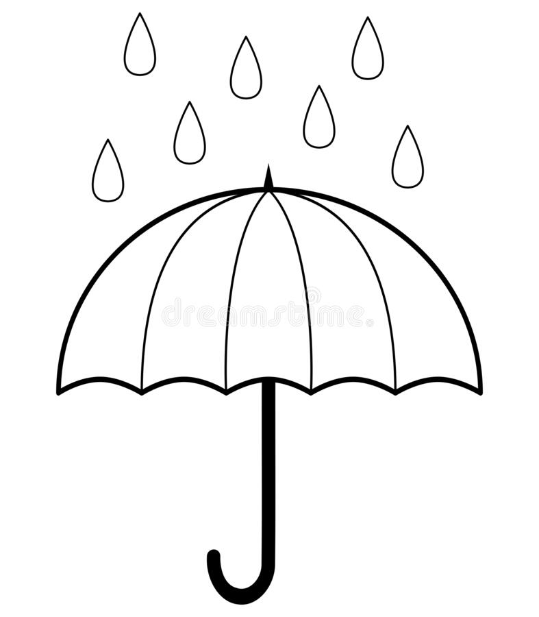 Umbrella In Rain Outline Coloring Book Page For Children Vector Illustration Isolated On White Stock Vector Illustration Of Print Drawing 177066634