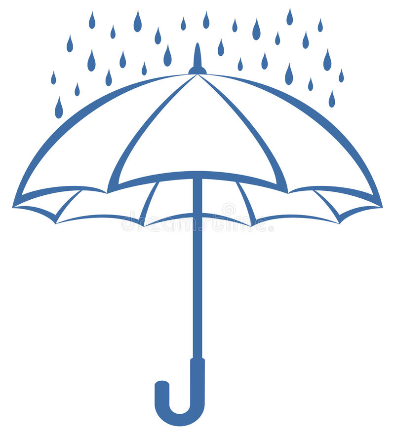 Umbrella and rain, pictogram stock illustration