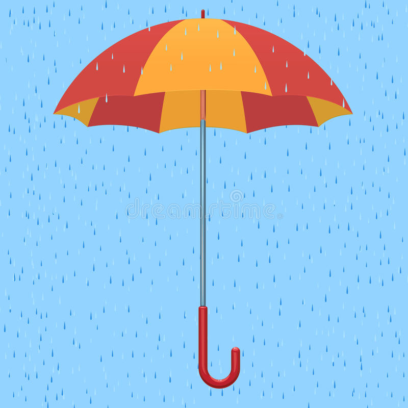 Umbrella in the rain vector illustration