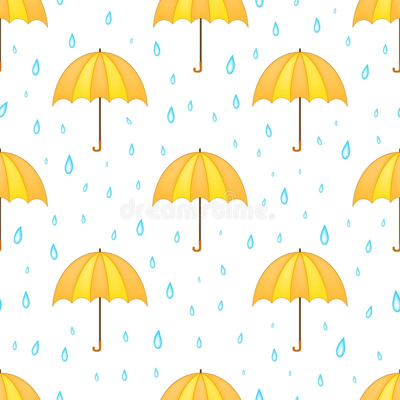 Umbrella and rain seamless pattern.  stock illustration