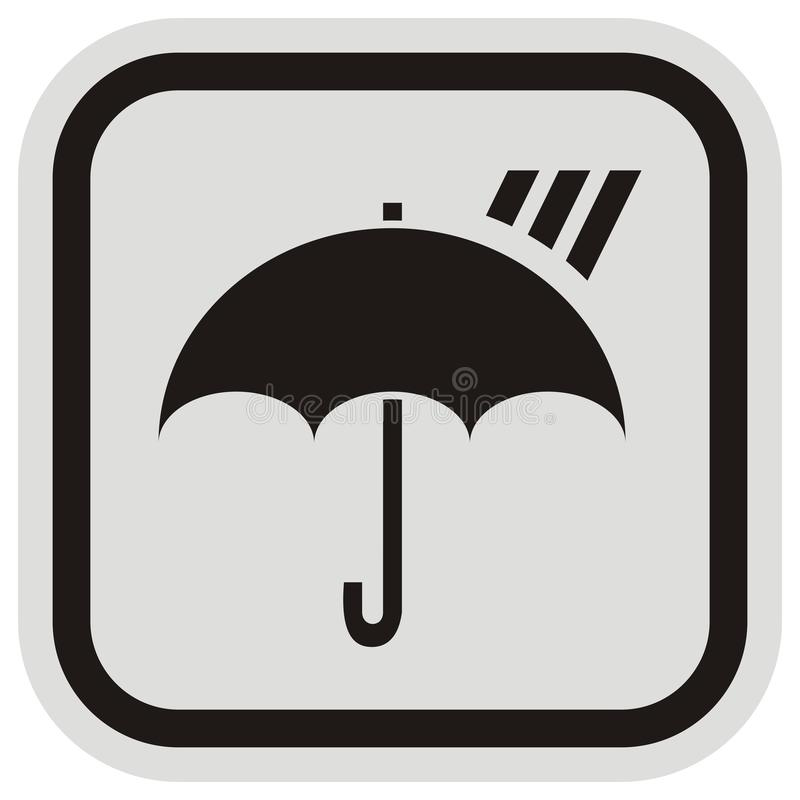 Umbrella and rain, vector icon at gray and black frame vector illustration
